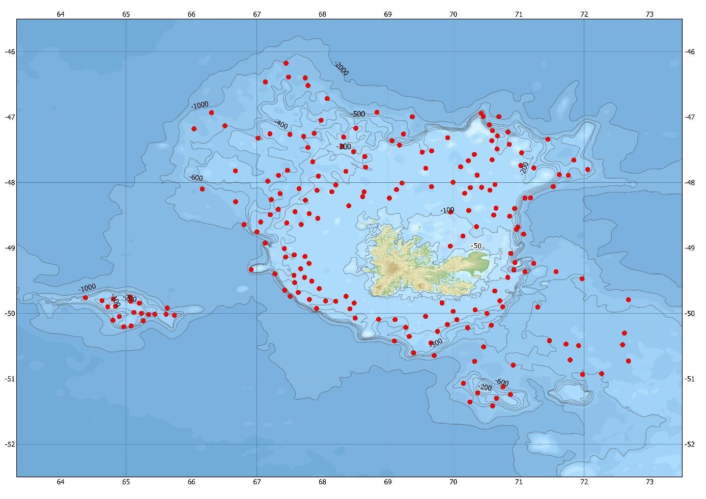 Carte des stations de chalutage prévues pour POKER 4 (septembre 2017) aux îles Kerguelen