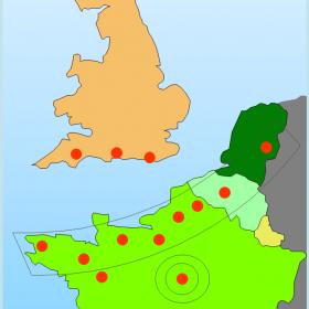 Localisation des  équipes de recherche en neurobiologie du réseau LARC-Neurosciences