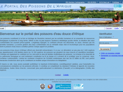 Home page of  the african fish portal