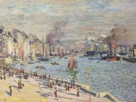 Le Havre harbor by Claude Monet.